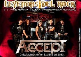 Imagen promocional del Festival Leyendas del Rock anunciando a Accept