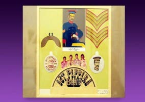 Collage subastado del disco Sgt Peppers de The Beatles
