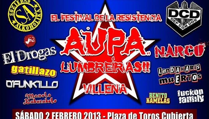 Cartel de la fiesta.presentación del festival Aúpa Lumbreiras