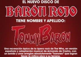 Imagen promocional del disco de Barón Rojo - Tommy Barón
