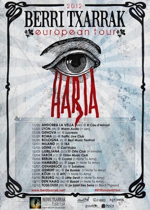 Fechas de la gira europea de Berri Txarrak