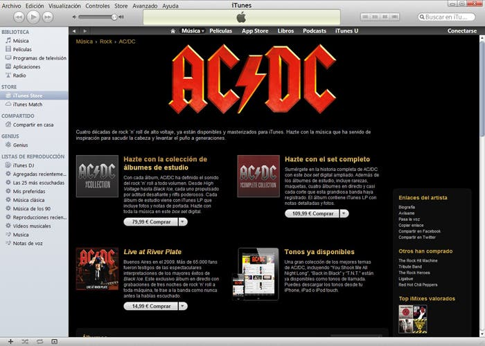 Discografía de ACDC en iTunes
