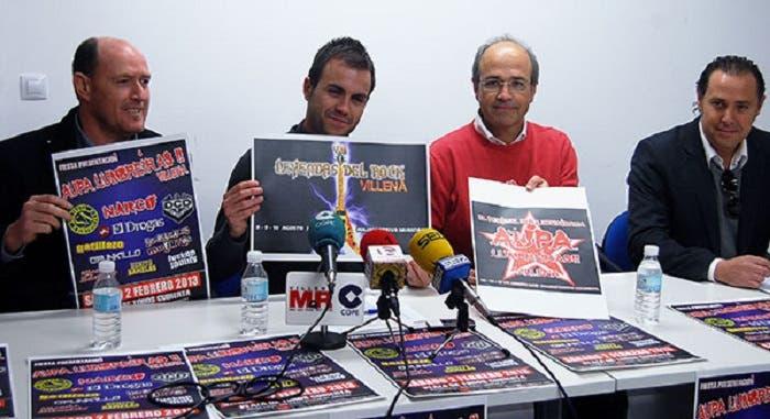 Imagen de la rueda de prensa presentación del Aúpa Lumbreiras y Leyendas del Rock en Villena