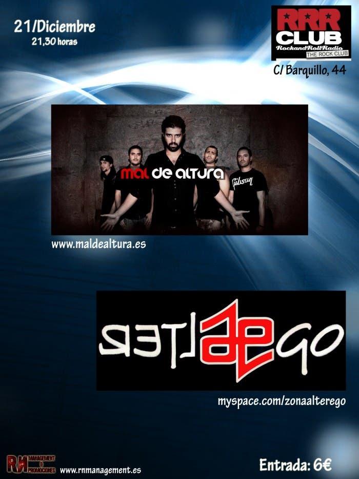 Mal de Altura y Alter Ego actuarán el viernes 21 de diciembre en la sala Rock & Roll Radio Club