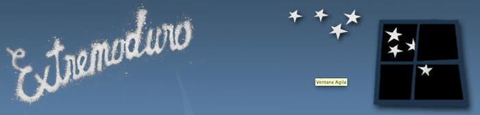 Extremoduro, logotipo y ventana con estrellas