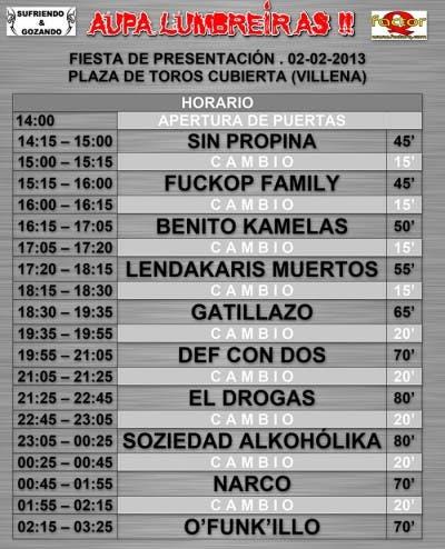 Horarios Fiesta Presentación Aúpa Lumbreiras 2013