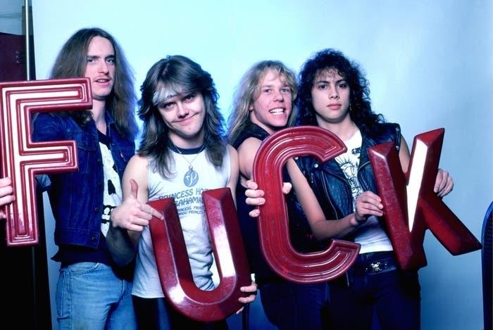 Cliff Burton, Lars Ulrich, James Hetfield y Kirk Hammet de Metallica